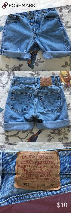 High Waisted Levi Shorts High waisted Levi shorts. Size 24. Fit snug. Hard to find in stores!! Petite ladies here's your chance! 😉 Levi's Shorts Jean Shorts