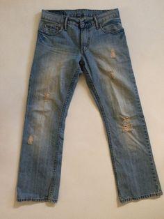 LEVIS 527 Mens Jeans Sz 30W 29L Low Boot Cut Distressed Destroyed Blue Stone #Levis #BootCut