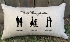 SILHOUETTE SPECIAL DAYS couple pillow perfect for bridal shower, anniversary gift, wedding gift or engagement gift, best friend and keepsake