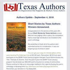 Congratulations to the winners of this years Annual Short Stories by Texas Authors contest. With the new judging rules in place, the competition had to meet high standards to be included in this year's anthology. High Standards, Short Stories, Authors, Congratulations, Competition, Texas, Meet, Reading, Books