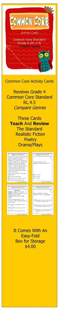 {Grade 4 Compare Genres (RL.4.5) Activity Cards}Did you know that Common Core Standard RL.4.5 (Literature) wants students to know concepts of poetry such as meter and rhythm? Plus, Common Core wants students to compare this to features of drama/plays such as stage directions, dialogue, and cast of characters. YIKES! These activity cards TEACH AND REVIEW these skills. Plus, this document also includes a printable, easy-fold box for storage! $4
