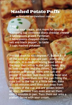 Mashed potato puffs from leftover mashed potatoes. Would work well in Pampered Chef brownie pan.get your brownie pan at www. Best Potato Recipes, Favorite Recipes, Easy Recipes, Pampered Chef Recipes, Cooking Recipes, Brownie Pan Pampered Chef, Seafood Recipes, Potato Puffs, Food Dishes