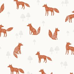 Fox Pattern Fabric. Quilting Fabric 100% Cotton - by Fat Quarter, Half Meter & Meter