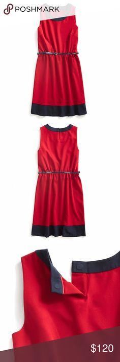 Tommy Hilfiger Belted Sleeveless Dress A classic silhouette got a fresh update with fetching contrast accents. Careful tailoring and comfortable fit. Styled with an elastic waist and hidden magnetic closures at the back neckline to make dressing a snap.  • Red and navy. • 92% synthetic, 10% elastane. • Sleeveless, elastic waist, belt included. • Magnetic closures at center back neckline. • Machine wash warm. Line dry. Tommy Hilfiger Dresses
