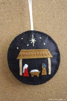 Kids Christmas Party -- Happy Birthday Jesus -- Nativity Felt Christmas Ornament/ Decoration by GeorgeNRuby Nativity Crafts, Christmas Projects, Felt Crafts, Holiday Crafts, Nativity Ornaments, Primitive Crafts, Nativity Sets, Diy Ornaments, Beaded Ornaments