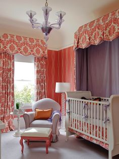 Kendall Wilkinson Design: Gorgeous nursery design with orange wavy patterned wallpaper and ivory colored ceiling ...