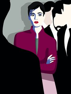 Illustration by #Mathilde © 2017  www.traffic-nyc.com  #woman #redlipstick #purplejacket #beautiful #fashion #silhouette #silhouetteillustration