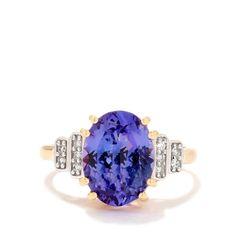 AAA Tanzanite Ring with Diamond in 18k Gold 4.80cts, Lorique Collection