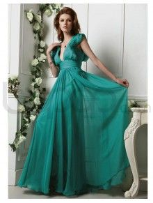 Full length A-line Light Chiffon Ruched Corset Bodice Deep v-neck Neckline Prom Dress (P-0015)