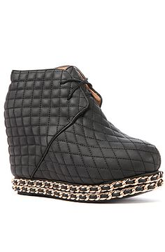The Alexis Shoe in Black Quilt and Gold by Jeffrey Campbell