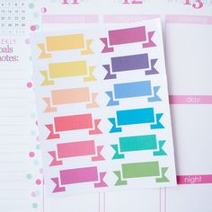 12 Simple Blank Banners Sticker Planner  // Perfect for Erin Condren Life Planner by FasyShop on Etsy