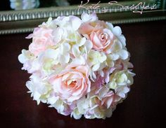 Wedding Bouquet - Pink Rose and Hydrangea Silk Bridal Wedding Bouquet