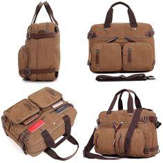 Clean Vintage Messenger Bag- Hybrid Briefcase Backpack Laptop Messenger Bag- Brown
