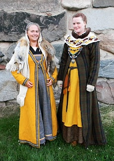 lovely Viking ensembles complete with caftans. From Sweden.