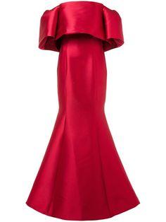 Monique Lhuillier Off-shoulder Gown Red Off Shoulder Dress, Off Shoulder Cocktail Dress, Red Cocktail Dress, Cocktail Gowns, Dark Red Dresses, Red Silk Dress, Designer Evening Dresses, Satin Gown, Red Carpet Fashion