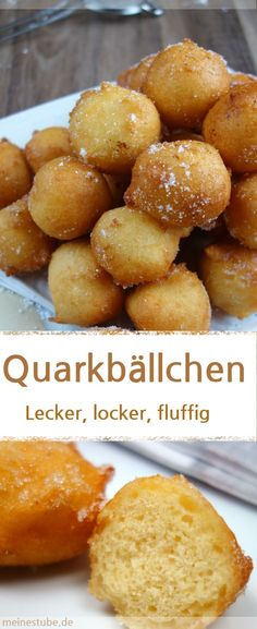 Rezept für Quarkbällchen ohne Hefe, die lecker, locker und fluffig sind. Schmeckt der ganzen Familie. Ideal auch als Kinderrezept. Dann einfach außen den Zucker weglassen. #Quarkbällchen #backen #frittieren