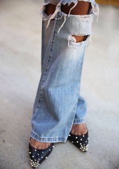 TheyAllHateUs More Shoes, Ripped Jeans, Fashion, Zsa Zsa Bellagio, Street Style, Studs Pumps, Denim, God I M, Peaches Skin Ripped jeans and spikes shoes The peach skin Fashion in detail. TheyAllHateUs | Page 2 Destroyed flares // Street style Distressed Denim and studded pumps @luvrumcake #Shoes #Denim ZsaZsa Bellagio