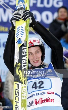 Lars Bystoel of Norway celebrates his victory at the FIS skijumping World cup 04 January 2006 for the third round of the Four Hills Tournament in...