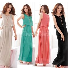 New Women Bohenmia Pleated Wave Lace Strap Princess Chiffon Maxi long dress Four Colors Hot Sell
