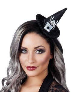 Mini sombrero bruja lentejuelas mujer Halloween: Este mini sombrero de bruja para adulto es de gomaespuma negra.Está cubierto de lentejuelas negras con un araña de plástico plateadeado.El sombrero mide 12 cm de alto y 13 cm de...
