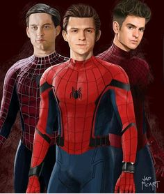 Spider Mans / Tobey Maguire, Tom Holland and Andrew Garfield! Marvel Dc Comics, Marvel Avengers, Marvel Heroes, Captain Marvel, Ms Marvel, Spiderman Art, Amazing Spiderman, Parker Spiderman, Tom Holland