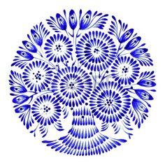 cercle floral, tir� par la main, illustration dans le style folk ukrainien