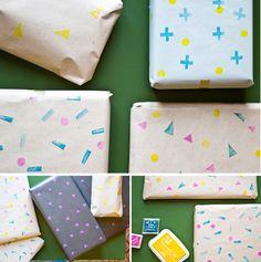 Sellos geométricos para envolver regalos originales, un tutorial facil y sencillo para dar un toque mas diy a tus regalos navideños