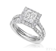 Princess Cut Engagement Ring with Halo & Split Shank
