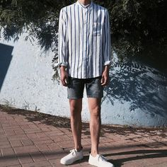 66 Ideas Fashion Summer Stripes Shorts For 2019 Korean Fashion Men, Trendy Fashion, Mens Fashion, Fashion Trends, Cool Outfits, Casual Outfits, Fashion Outfits, Man Dressing Style, Looks Style