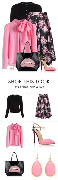 """pink and black"" by divacrafts ❤ liked on Polyvore featuring Paul Smith, City Chic, Chicwish, Christian Louboutin, RED Valentino, Kate Spade, Original and plus size clothing"