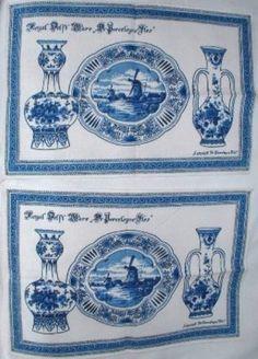 Royal Delft Ware Pottery Blue Linen Napkin Vintage Tea Towel or Place Mat (Set of 2) 1970s