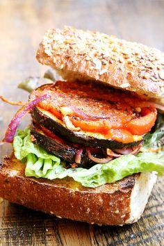 Savory Vegan Eggplant Tomato Burger