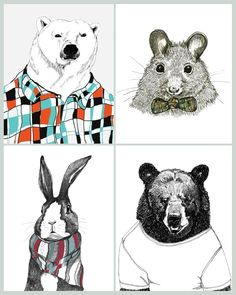 """Polar Bears Love Flannel Shirts, Mice Love Bow Ties, Rabbits Love Scarves, Bears Love Plain White Ts"""
