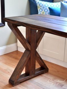 Farmhouse table plans & ideas find and save about dining room tables . See more ideas about Farmhouse kitchen plans, farmhouse table and DIY dining table Diy Table Legs, Wood Table Legs, Wooden Tables, Bench Legs, Furniture Projects, Wood Furniture, Into The Woods, Diy Holz, Farmhouse Table