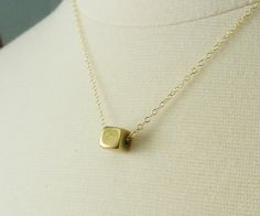 Tiny+brass+cube+geometric+necklace+sleek+by+LemonSweetJewelry,+$19.00