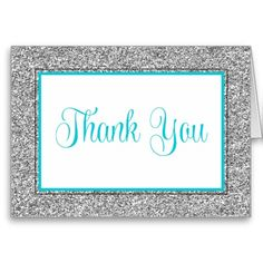 Glam Faux Glitter Silver Teal Blue Thank You Greeting Card