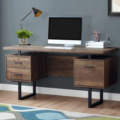 Home Office Furniture: Choosing The Right Computer Desk Office Furniture Stores, Furniture Deals, Furniture Nyc, Furniture Companies, Cheap Furniture, Discount Furniture, Pallet Furniture, Black Desk, Grey Desk