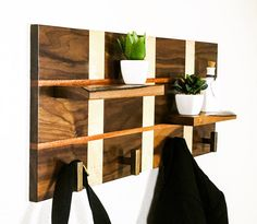 Handcrafted Wood Coat Rack Modern Coat Rack Coat by pieceofshards
