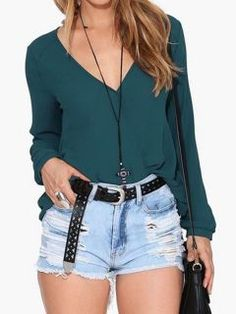 Shop DarkCyan V Neck Chiffon Blouse from choies.com .Free shipping Worldwide.$13.9