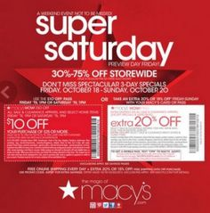 Macys Super Saturday w/Preview Day Friday $10 off $25 + 10% Cash Back with a Macys Gift Card from shoppingboss.com
