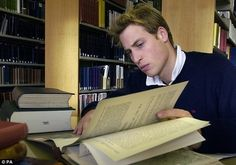Prince William reading in the library at St Andrew'sUniversitywhen he was a student (2004).