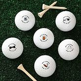 """Celebrate the Groom's Last Round of freedom with these personalized golf balls - a perfect gift for the bachelor or everyone in the party! Your set comes witha variety of6designs; 2 golf balls of each design for a total of 12! (click """"View Larger Image"""" for a close-up view of each design). A full dozen golf balls are personalized withany 2-lines you choose. No Setup charge  day Shipping! Sold in sets of 1 dozen;    Price = $26.95"""