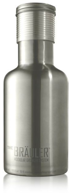 The Bräuler™ Stainless Steel Beer Brewing Growler holds up to 64oz and keeps the suds