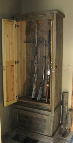 Gun cabinet made from pallets. Could use chicken wire on the doors ...