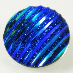 Blue Glitter Shell Button Bead Noosa Snap On Charm Chunk 20mm
