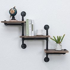 MBQQ Industrial Bookshelf Pipe Shelves 3 Tiers,Rustic Wood Shelf Wall Mounted,Metal Corner Hung Bracket Shelving Floating Shelves Steampunk Decor - Home Professional Decoration Rustic Wall Shelves, Industrial Pipe Shelves, Industrial Home Design, Pallet Shelves, Shelf Wall, Metal Pipe Shelves, Shelves With Pipes, Galvanized Pipe Shelves, Black Pipe Shelving