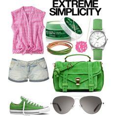Simple Green + Pink, created by jemevangelista on Polyvore
