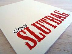 Funny Greeting Card - Dear Slutbag Blank