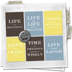 Free 3x4 This is my Life cards for your Project Life or other scrap layouts from Serendipity Design. {Every card comes in 3 colors}