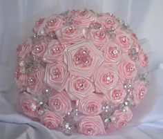 Wedding Bouquet Pink with Crystals by CasaAraiza on Etsy